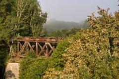 Most kolejowy na Pasłęce w nieistniejących Sportynach - nieczynna linia Orneta - Morąg