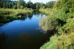 Rzeka Łyna, wpływa do Lidzbarka Warmińskiego z kierunku zachodniego
