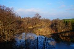 Rzeka Łyna. Widok z mostu kolejowego na trasie Lidzbark Warmiński - Bartoszyce