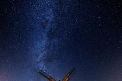 Wiatraki nocą, skansen Olsztynek - kier. zachód